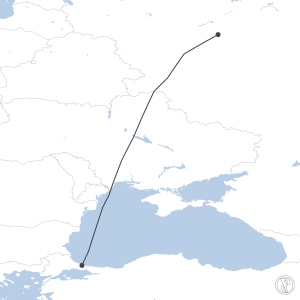Map of flight plan from LTFM to UUEE