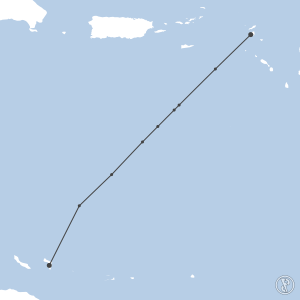 Map of flight plan from TNCM to TNCB