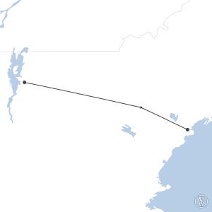 Map of flight plan from KBTV to KPWM