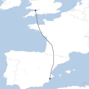 Map of flight plan from EGFF to LEAL
