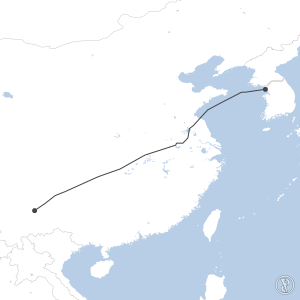 Map of flight plan from ZPPP to RKSI