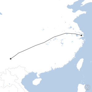 Map of flight plan from ZPPP to ZSSS