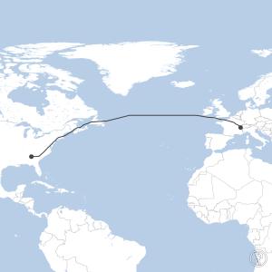 Map of flight plan from KATL to LSGG