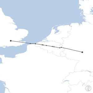 Map of flight plan from EDDF to EGLL