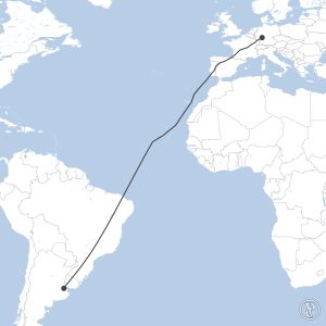 Map of flight plan from EDDF to SAEZ
