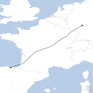 Map of flight plan from EDDF to LEBB