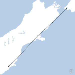 Map of flight plan from NZWN to NZDN